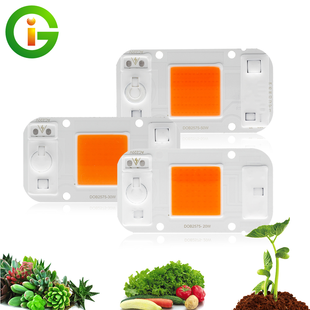 LED Grow Light COB Chip AC220V 20W 30W 50W Full Spectrum 380nm~840nm For DIY Hydroponics Greenhouse Grow LED.