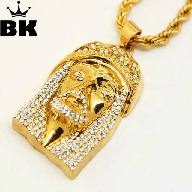 Gold Color JESUS Christ Piece Head Face Hip Hop Pendant Necklace Charm Chain For Men and Women Trendy Holiday Accessories