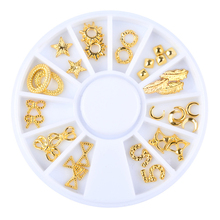 Pandahall 1 Box Gold Alloy Nail Art Decoration Wheel Feather Moon Bow Designs Charm Studs DIY Nail Accessories Tools