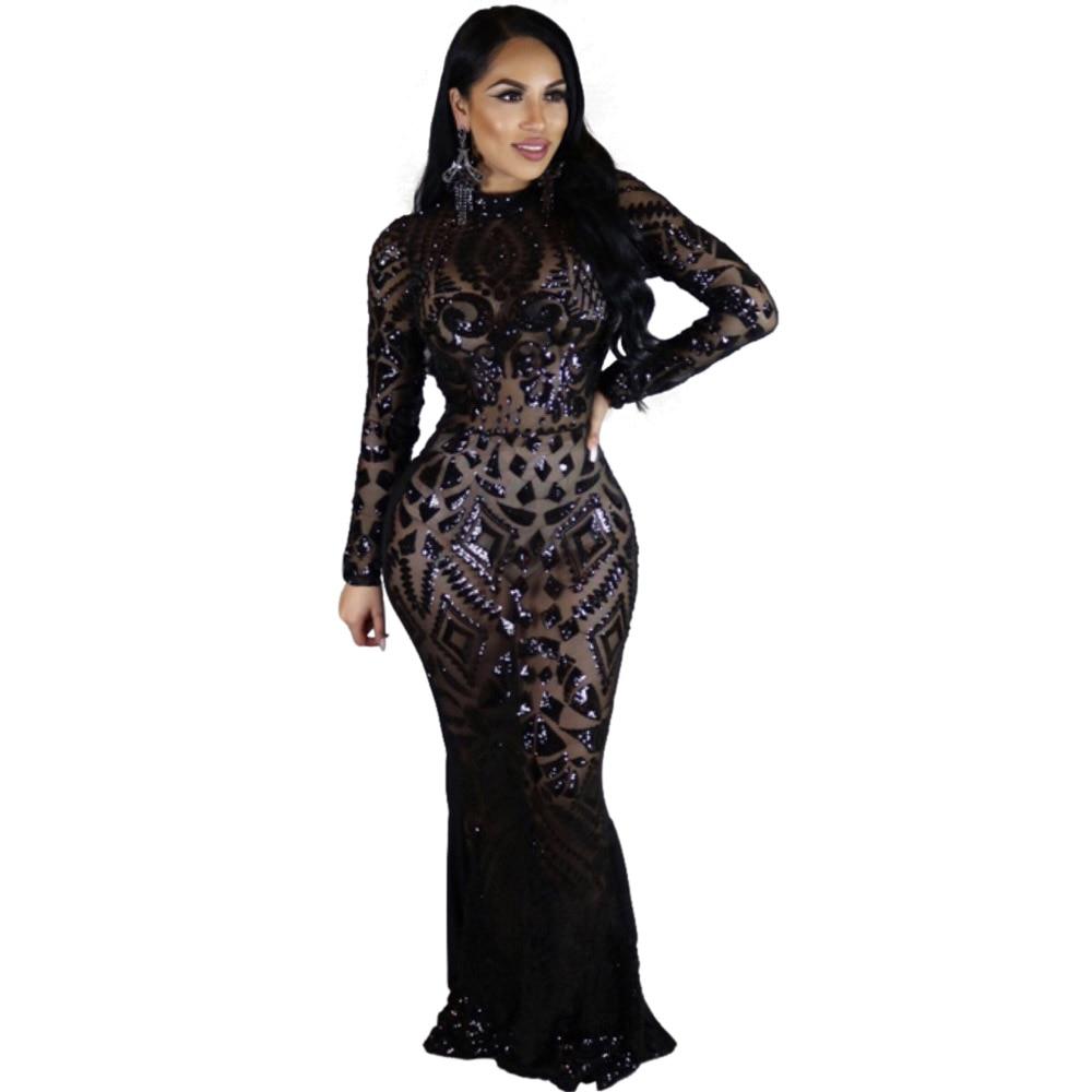 2017 Club Night Party Dress Sexy Women Autumn Sequin Long -7767