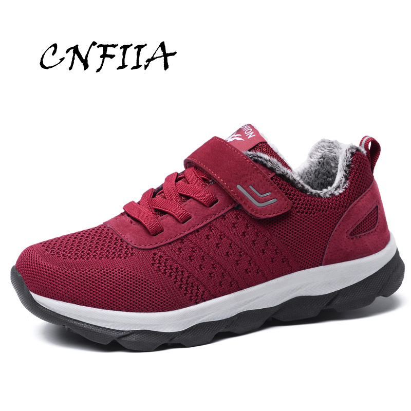 CNFIIA Sneakers Women Shoes Large Size 41 42 43 44 45 Red Blue Black Female Footwear Women Casual Shoes 2018 Winter Warm Walking freestyle revolution new red blue women s size large l junior ikat print shorts
