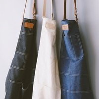 Jean Style Dermis Canvas and Leather Antifouling Apron Kitchens Canvas Sleeveless Apron with Pocket Clean Home Work Clothes