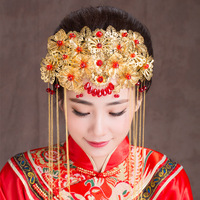 Chinese Traditional Classical Bridal Jewelry Headdress Coronet Hair Accessories Crystal Beads Pendant Tassels Frontlet