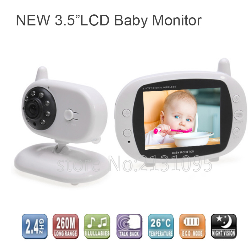 3.5 Inch LCD Wireless Baby Radio Babysitter Digital Video Baby Monitor Audio Night Vision Music Temperature Display Radio Nanny wireless 2 4 lcd color baby monitor high resolution lullabies kid nanny radio babysitter night vision remote camera newborn gift