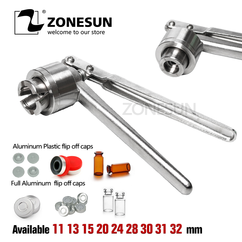 ZONESUN Stainless Vial Crimper 13 20mm Parmaceutical Glass Bottle Sealing Capping Tools Round Handle Aluminum Plastic