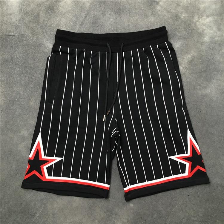 2018 Tops Brand Shorts Fashion Black White Stripes Five Star Embroidery Men Shorts Hip Hop Unisex Casual Shorts S-XXL