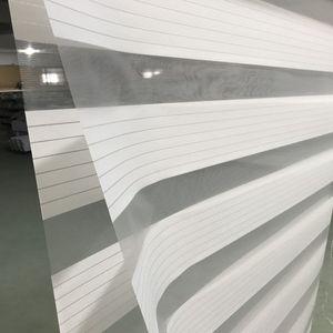 Заказное Горизонтальное окно с разрезом по размеру, Затемненные двойные жалюзи с зеброй и обработанные оконные шторы для гостиной белого ц...
