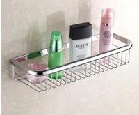 Vidric Shelves 45cm Single Tier Basket Brass Chrome Shower Shelf Cosmetic Holder Wall Mounted Home Accessories Shelf