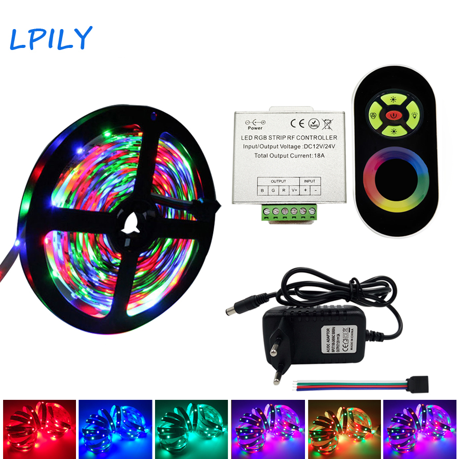 IPILY 5m 10m 15m 20m RGB LED Strip SMD 2835 Non Waterproof Rgb Led Ribbon +RF Touch Wireless Dimmer Remote Controller IP20 IP65