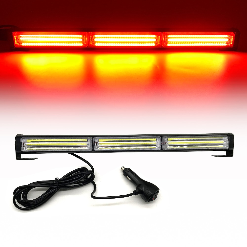 7 Modes COB car Emergency Warning flashing light Traffic Advisor Vehicle LED Strobe Light Bar Auto Safety Signal light header