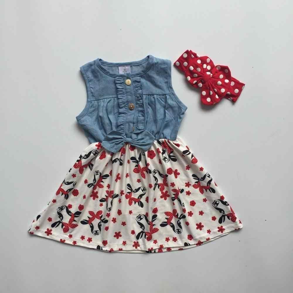 739093332 baby girls children clothes cotton solid color cow flower Denim Blue white  ruffle dress boutique summer