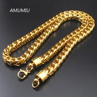 AMUMIU 8mm Chunky Gold Filled Curb Cubaanse Kettingen Ketting Dikke Zware Link Chain Mannen Ketting Aangepaste Sieraden Gift HN257