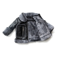 Children PU Leather Jacket Boys Girls Fleece Fur Coat Autumn Winter Kids Solid Casual Outerwear Warm Plush Jacket TZ367