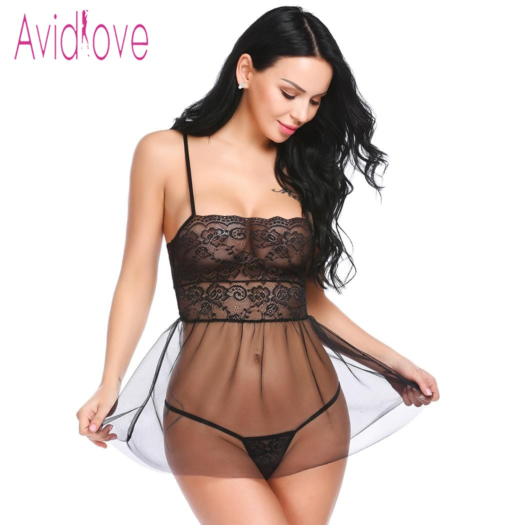 Avidlove <font><b>2018</b></font> New Lingerie Sexy Hot Erotic Babydoll Dress Chemise Women Spaghetti Strap Lace Nightwear <font><b>Sex</b></font> Intimates Products image