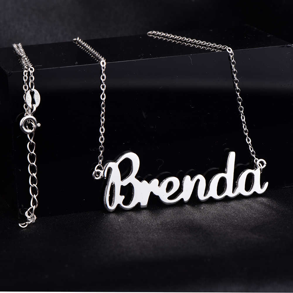 RainMarch Personalized 925 Silver Name Necklace Women Necklaces & Pendants Customiz Chock Necklace Jewelry Gift Dropshipping