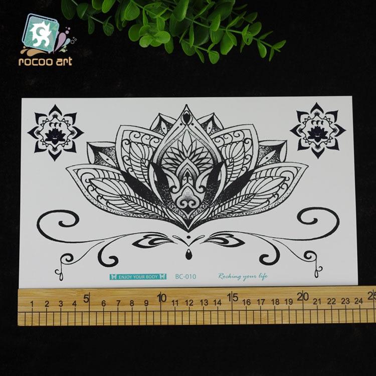 Vanntett Midlertidig Tattoo klistremerke stor størrelse svart lotus - Tatovering og kroppskunst - Bilde 3