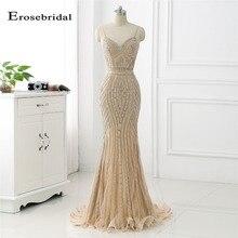 48 часов длинное вечернее платье с золотыми кристаллами Erosebridal Русалка официальная Женская одежда с коротким шлейфом vestido de festa ZLR018