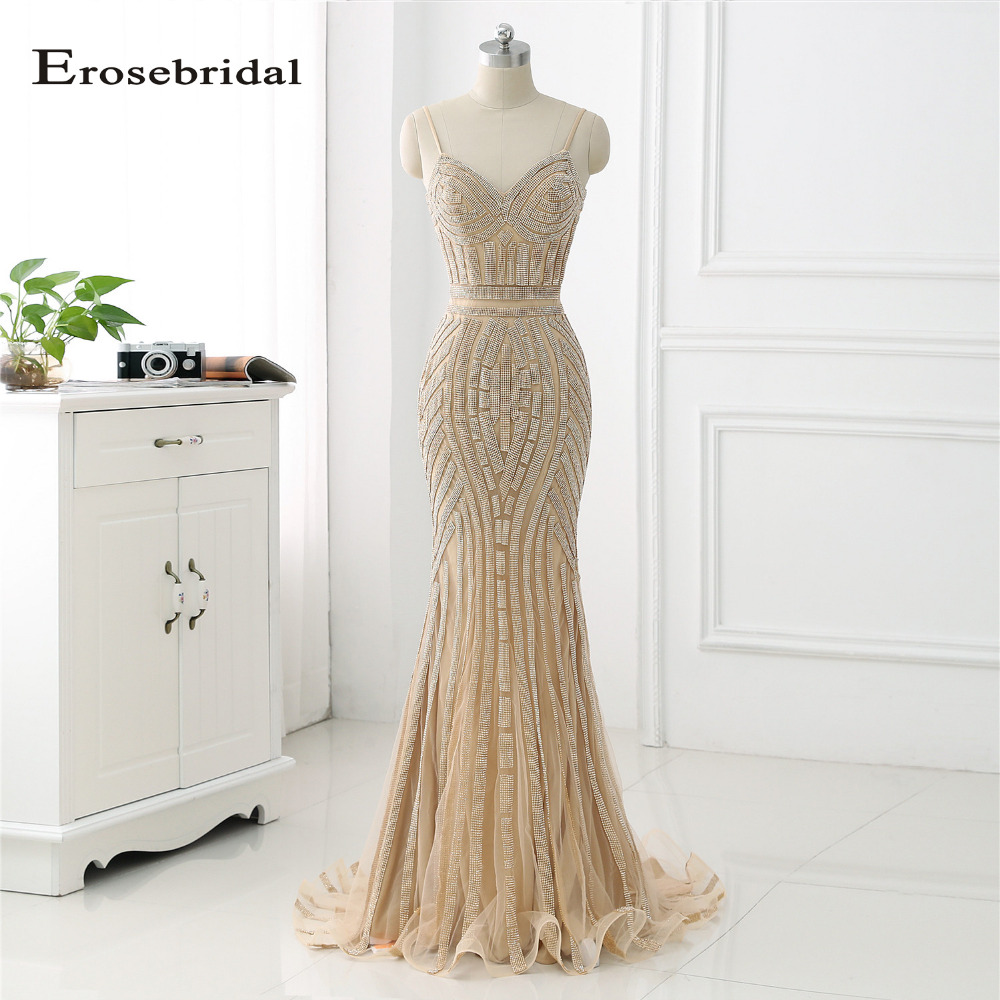 48 Hours Shipping Gold Crystal Long   Evening     Dress   2019 Erosebridal Mermaid Formal Women Wear Sweep Train Vestido De Festa ZLR018