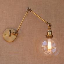 Retro Messing Verstelbare Lange Arm Wandlamp Vintage Led Trap Licht Loft Stijl Industriële Wandkandelaar Apliques Murale Arandela