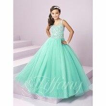 Schöne Mint Green Mädchen Pageant Kleider 2017 Perlen Sparkly Kristall Lace Up ballkleid für Mädchen Tüll Kinder Abendkleid