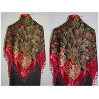 Free Shipping Red Women's Triangle Velvet Silk Beaded Embroider Shawl Scarf Peafowl SW09 B