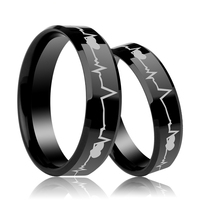 Matching Black Comfort Fit Tungsten Carbide Ring Pairs Laser Heartbeat Wedding Jewelry For Lovers