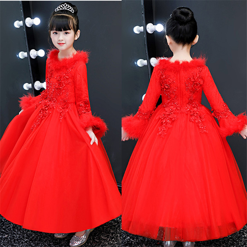 Autumn Winter Warm Children Girls Red Color New Year Birthday Princess Lace Long Dress Kids Toddler Elegant Christmas Prom Dress christmas dress bland 2017 new kids sweater dress spring autumn winter girls long warm fashion princess toddler girl clothes