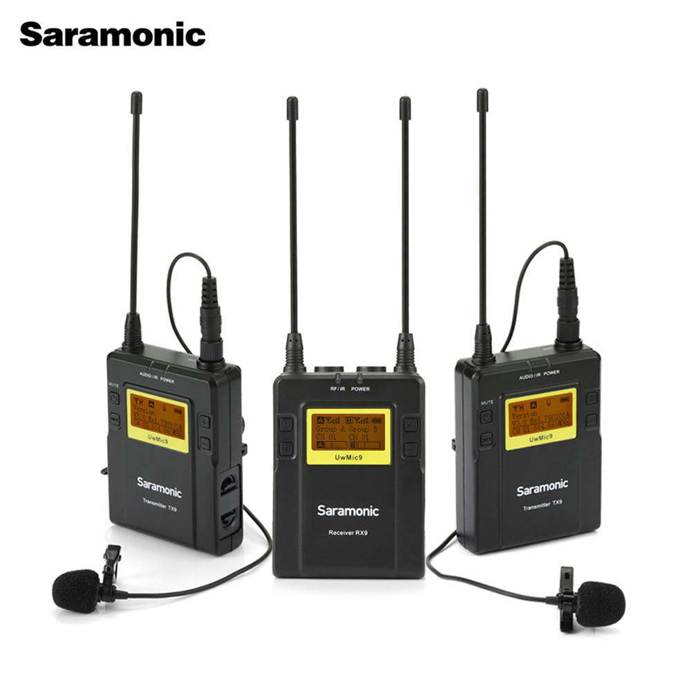 Saramonic UWMIC9 Broadcast UHF Camera Wireless Lavalier Microphone System Transmitters And Receivers For DSLR Camera &Camcorder