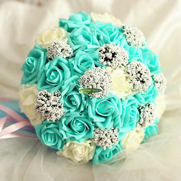 New Pu Artificial Rose Bridal Flower Bouquet Idea Wedding Home Church Decor Blue Cream Fl5135 In Dried Flowers From Garden On