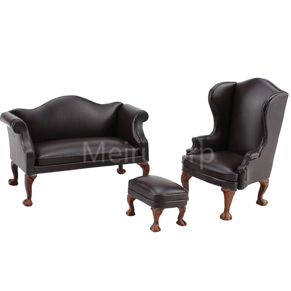 Dollhouse 1/12 échelle miniature meubles brun En Cuir canapé chaise Pouf 3 pcs ensemble 12357