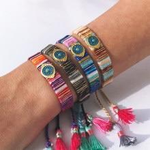 Bracelet d'amitié en acier inoxydable pour hommes et femmes, bijoux d'été, accessoires, mauvais œil, style boho, pierre naturelle