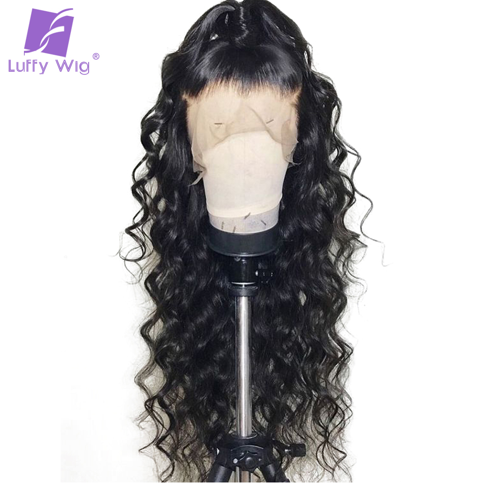 Luffy Non Remy Brazilian Hair 5*4.5 Silk Base Full Lace Human Hair Wigs With Baby Hair Body Wave Natural Color For Black Women