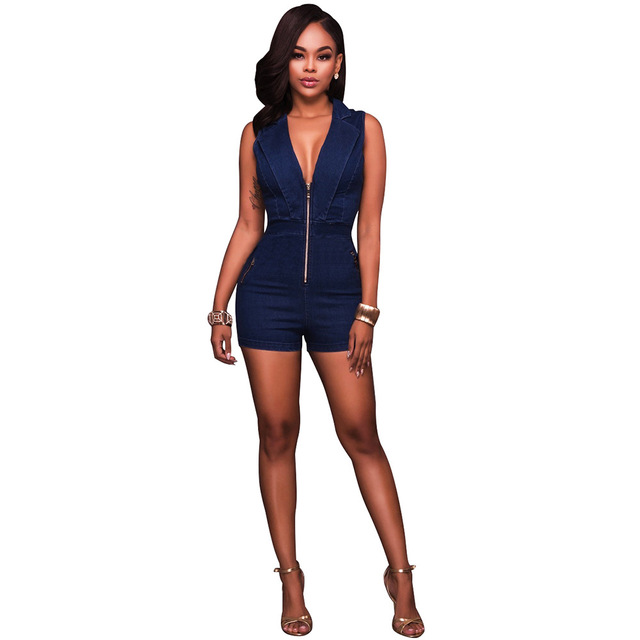ec375eac6b43 Misstyle Summer Women Short Pant Sexy Jeans Sleeveless Slim Jumpsuits  Romper Deep V Bodycon Bodysuit Blue Party Denim Jumpsuit