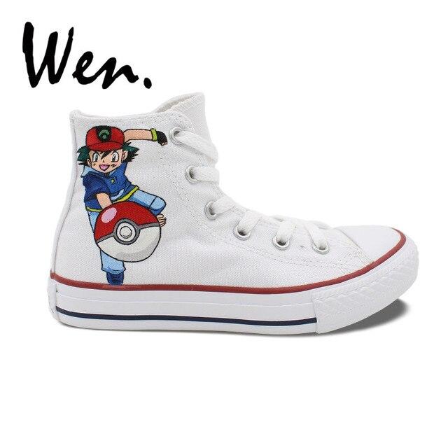 15d887c40b8b Wen Anime Men Women s High Top Hand Painted Skateboard Shoes Pocket Monster  Ash Pokemon Design Custom Portable Canvas Sneakers
