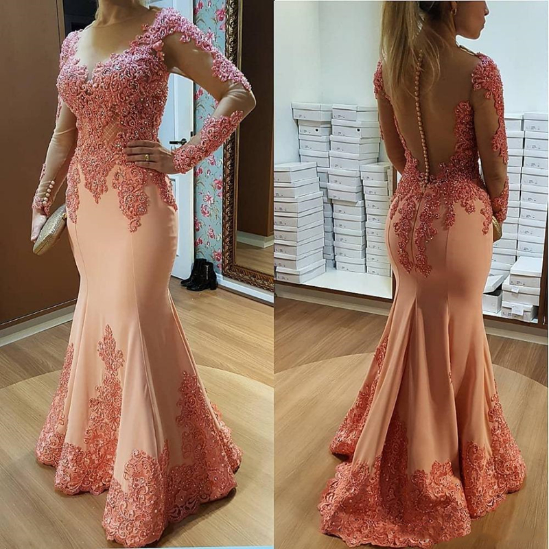 2019 Sheer Long Sleeves Lace Mermaid   Prom     Dresses   Tulle Applique Beaded Floor Length Formal Party Evening   Dresses   With Buttons