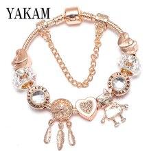 Fit Original Charms European Bracelet Clear Crystal Dreamcatcher Pendant Heart Bella Robot Beads Femme Rose Gold Color Pulseiras цена 2017