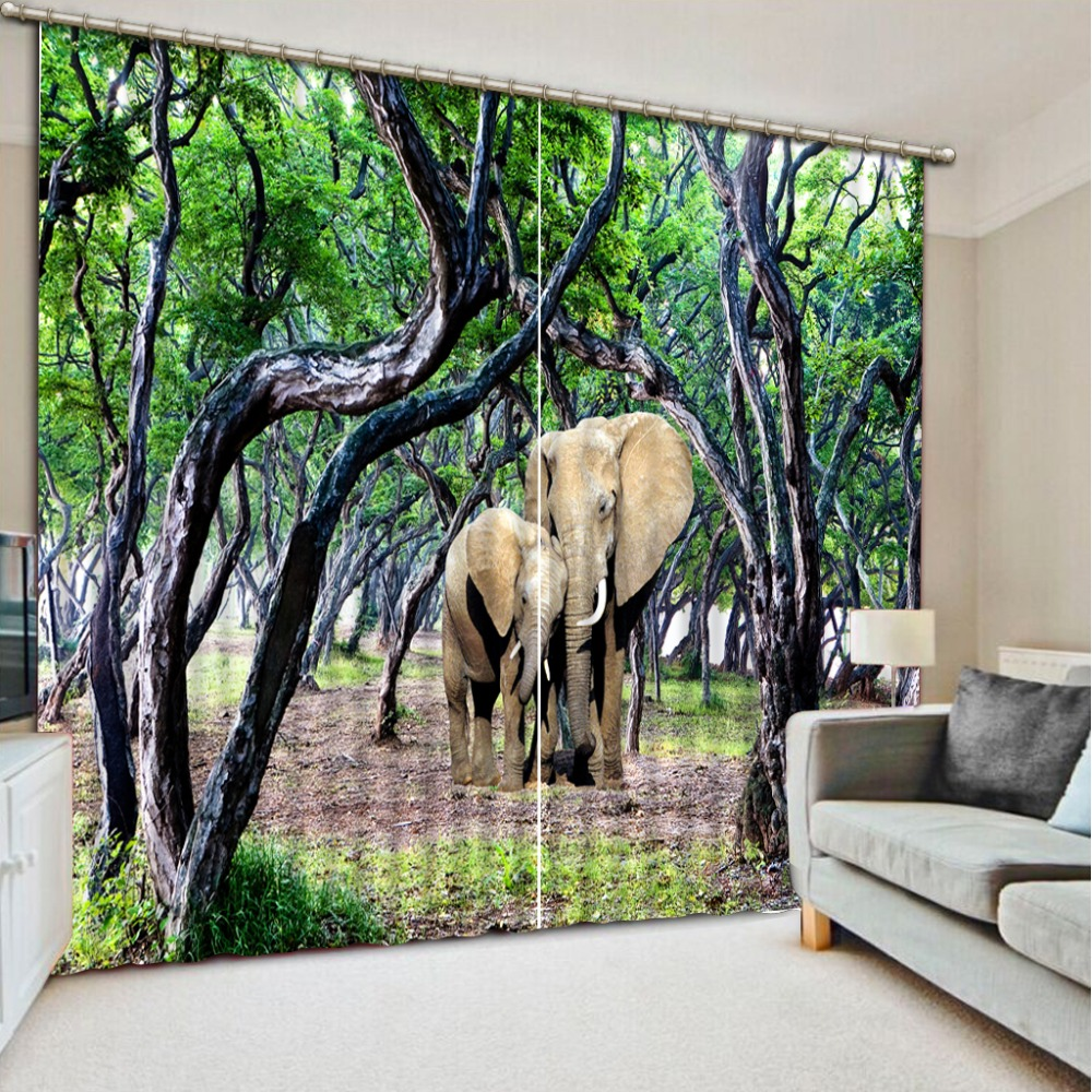 Short Kitchen Curtains elephant forest Window Curtains for living room bedroom wedding Room Bedroom Curtains Luxury 3D CurtainsShort Kitchen Curtains elephant forest Window Curtains for living room bedroom wedding Room Bedroom Curtains Luxury 3D Curtains
