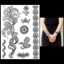 1PC Fashion Flash Waterproof Tattoo Women Black Ink Henna Jewel Sexy Lace BJ021 Omega Flower Totem Wed Temporary Tattoo Sticker
