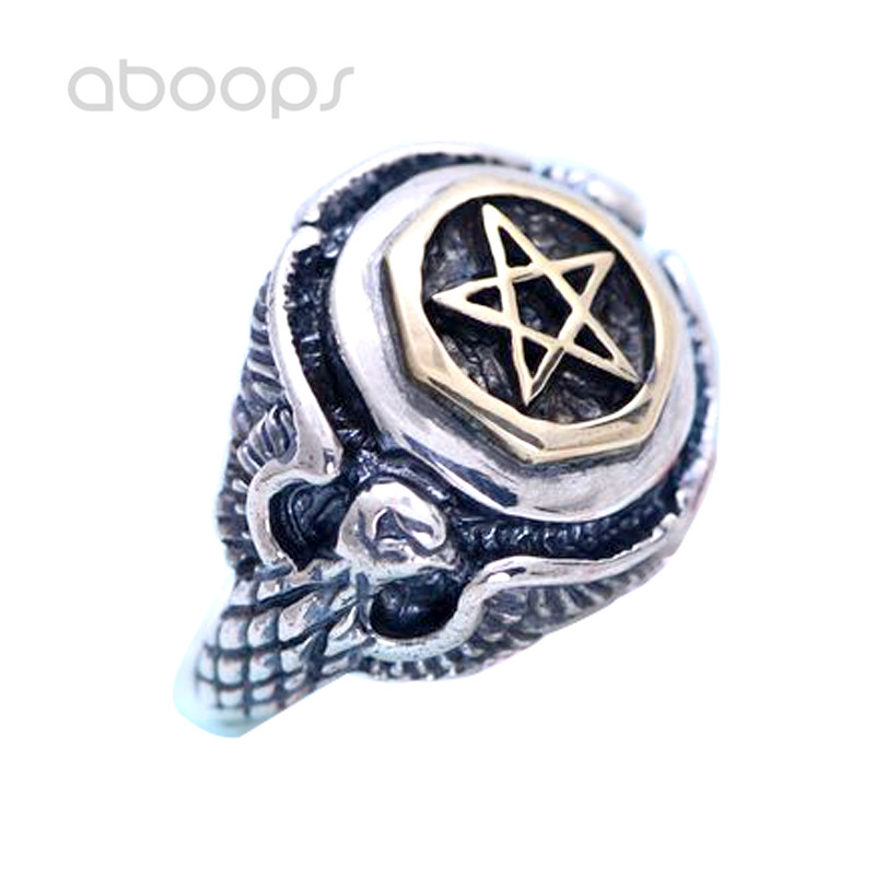 Punk 925 Sterling Silver Eagle Ring Jewelry Inlaid Gold Star for Men Free Shipping