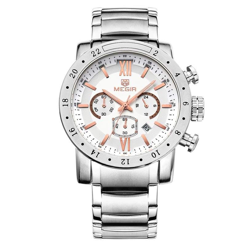 Prix pour MEGIR Top Marque De Luxe Hommes Montres À Quartz Chronographe 6 Mains de Mâle En Acier Inoxydable Montre-Bracelet Automatique Date Horloge 3008