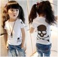 Children's clothing female child t-shirt 2015 summer child 100% cotton t-shirt skull 100% o-neck cotton short-sleeve T-shirt