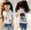 Niña ropa de los niños de la camiseta 2015 niños del verano 100% algodón camiseta del cráneo 100% del algodón del o-cuello corto manga de la camiseta