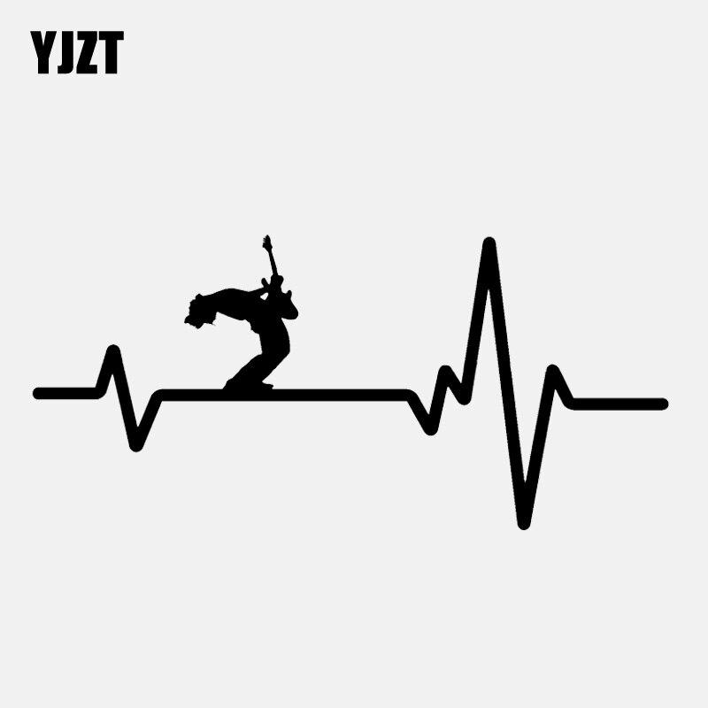 YJZT 15.4CM*7.2CM Fun Heart Beat Line GUITAR ROCK OUT  Vinyl  Black/Silver Car Sticker C22-0745