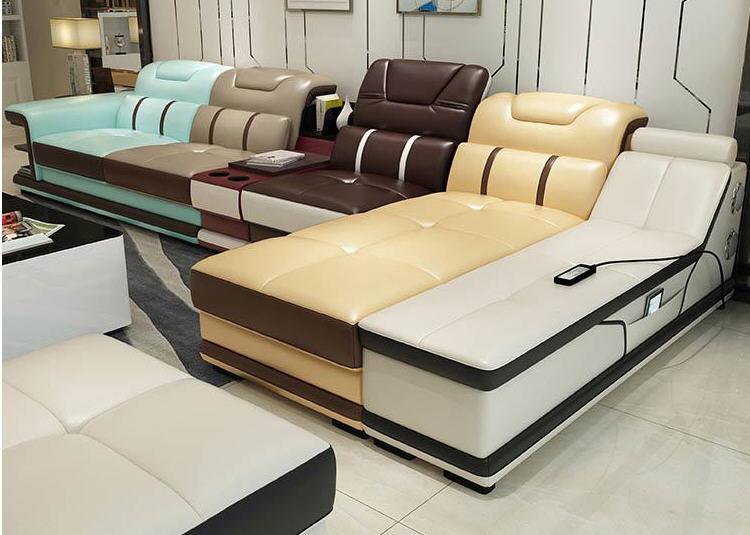 Living Room Sofa Recliner Corner Sofa Massage Real Genuine Leather Sectional Sofas Minimalist Muebles De Sala Moveis Para Casa
