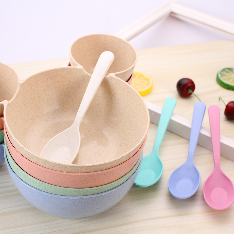 Cartoon Baby Feeding Bowl Wheat Straw Children's Rice Bowl And Spoon Cute Dinner Plate Of Children Baby Food Tableware
