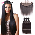 Peruvian Virgin Hair Straight Ear To Ear Lace Frontal Closure With Bundles Peruvian Straight Hair 13x4 Lace Frontal With Bundles