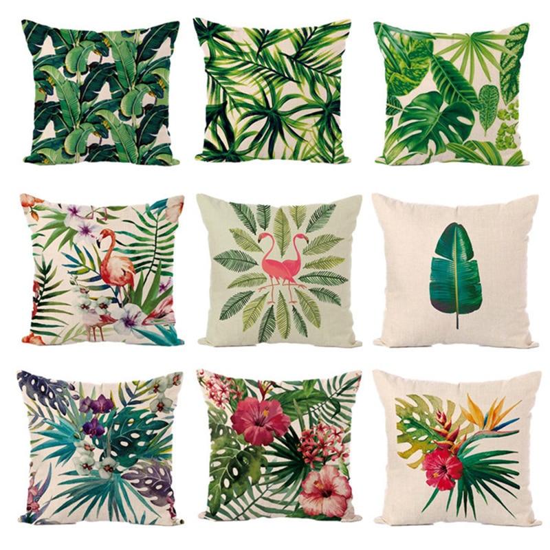 45x45cm Summer Flower Birds Cushion case Palm Leaf Cotton Linen Cactus Soft Pillow Cases Pillow Covers Bedroom Decoration