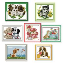 Dog handmade DIY embroidery cross stitch printing embroidered cloth dog animal pattern DMC embroidery thread hanging painting(China)