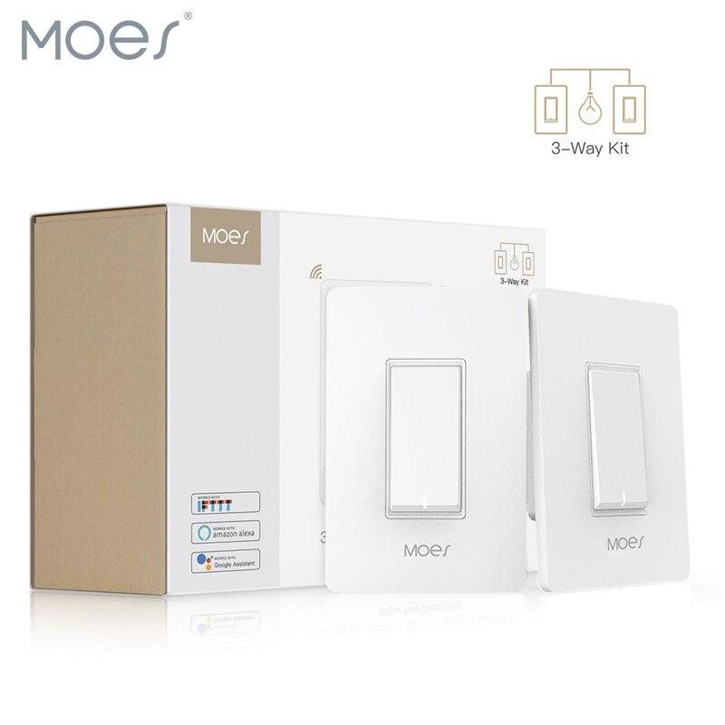 3 voies WiFi Smart interrupteur de lumière lumière ventilateur contrôle APP télécommande fonctionne avec Alexa et Google Home, aucun Hub requis