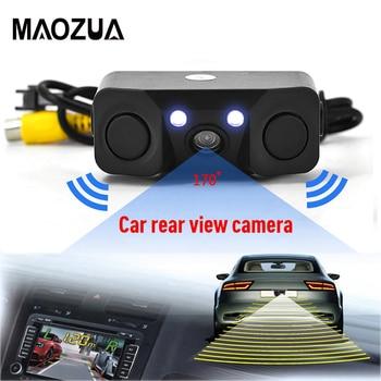 цена на 3 in 1 Car Parking Sensor Car Reverse Backup Rear View Camera with 2 Radar Detector Sensors Indicator Buzzer Alarm Car Camera